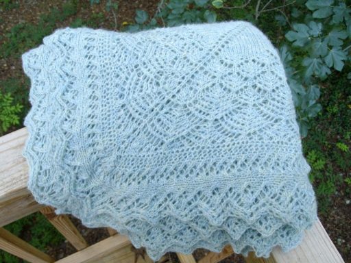 Pattern: Spire, by Leila Raabe; Yarn: Alice Starmore Hebridean 3-ply in Kittiwake.
