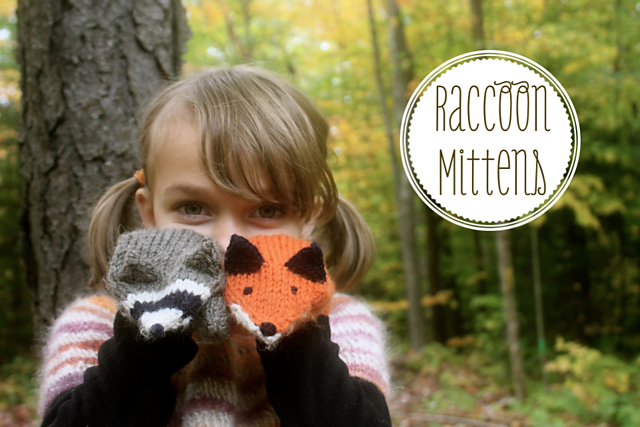 141115 raccoon and fox mittens