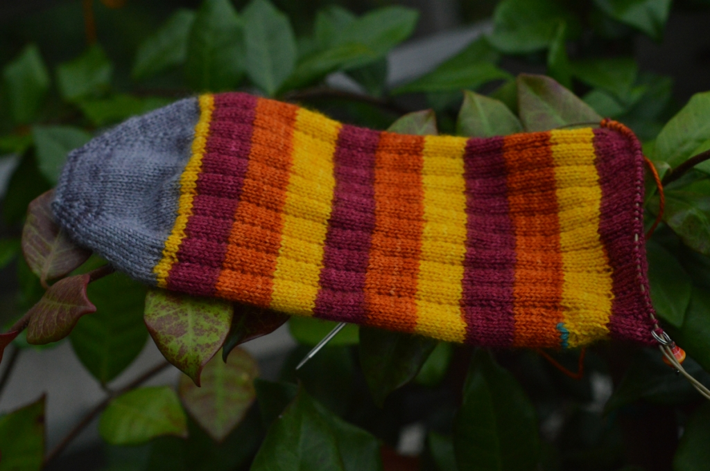 thecusserknits.com | solar flare sock in progress