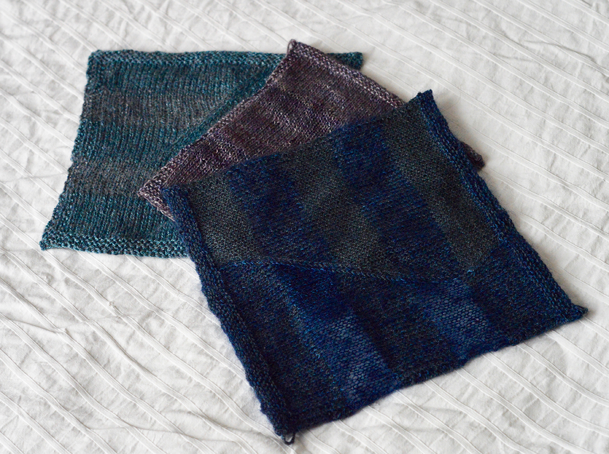 Fauxtarsia Wave swatches in different yarns