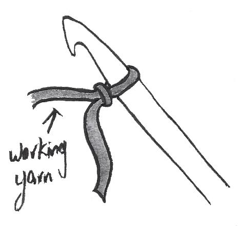 A slip knot on a crochet hook.